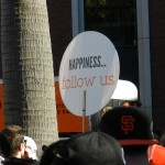 Sign in crowd at Willie Mays Gate.